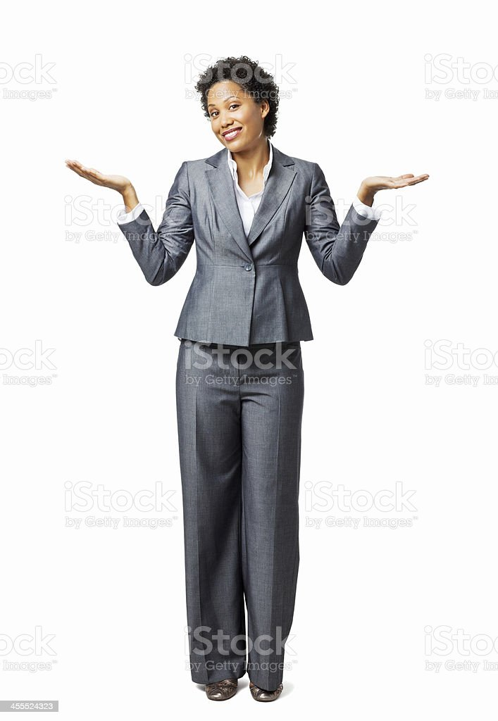 Businesswoman Shrugging - Isolated royalty-free stock photo