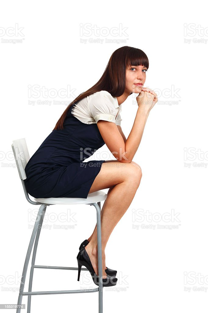 businesswoman sitting on chair royalty-free stock photo