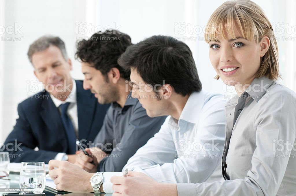 Businesswoman smile at work royalty-free stock photo