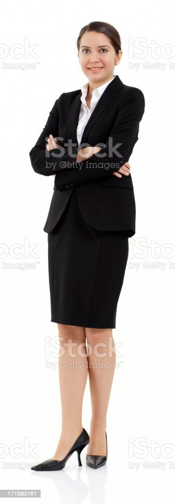 businesswoman smiling over white background royalty-free stock photo