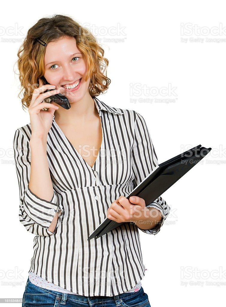 businesswoman speaking with somebody by mobile phone royalty-free stock photo