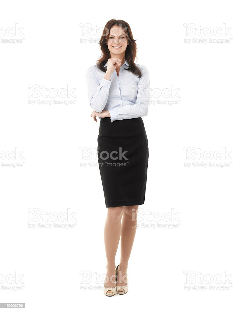 Businesswoman Standing Against White Background stock photo
