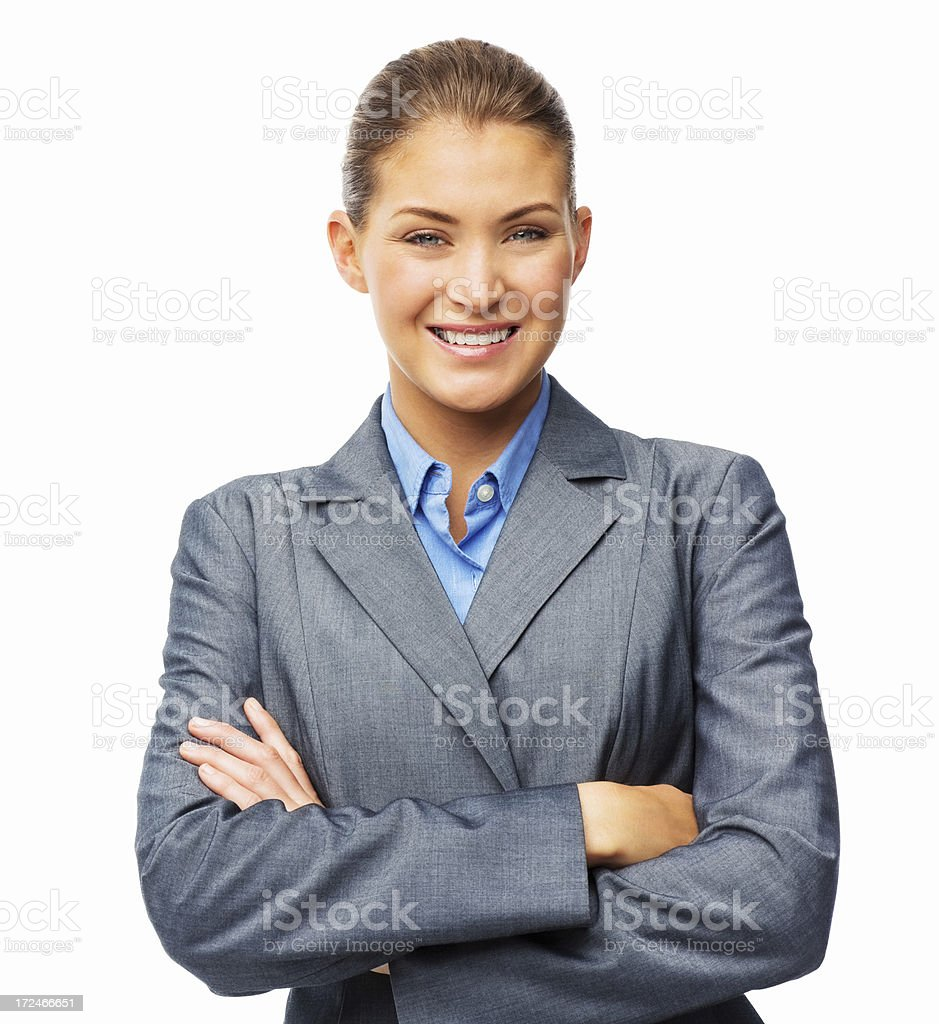 Businesswoman Standing With Arms Crossed - Isolated royalty-free stock photo