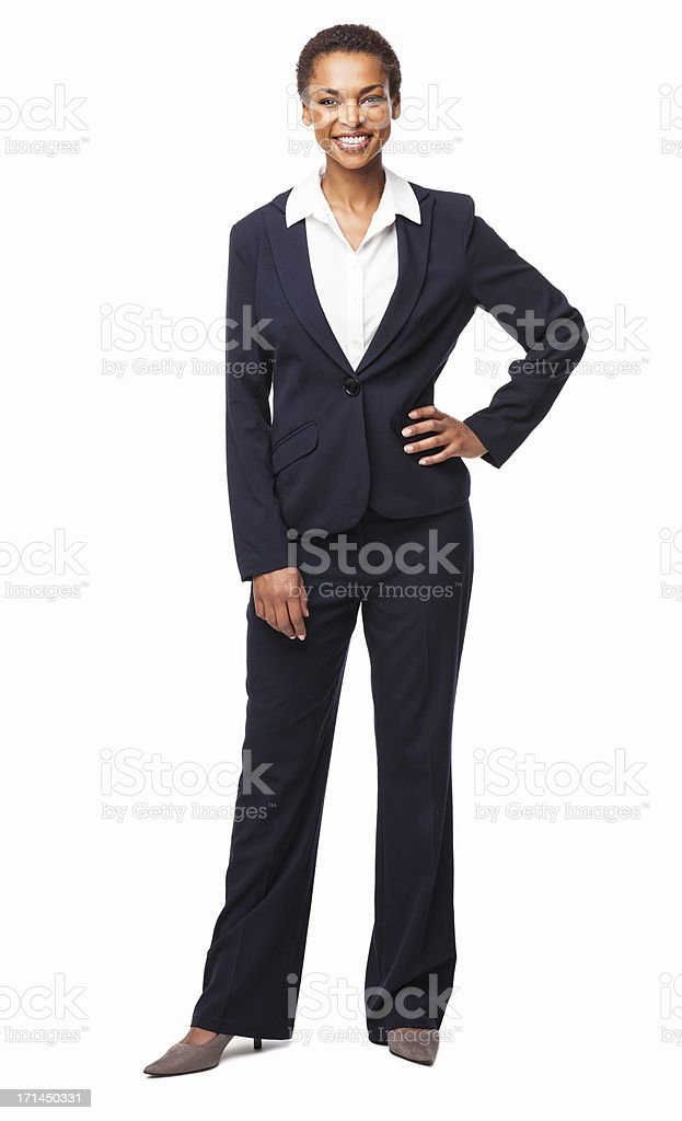 Businesswoman Standing With Hand On Hip - Isolated stock photo