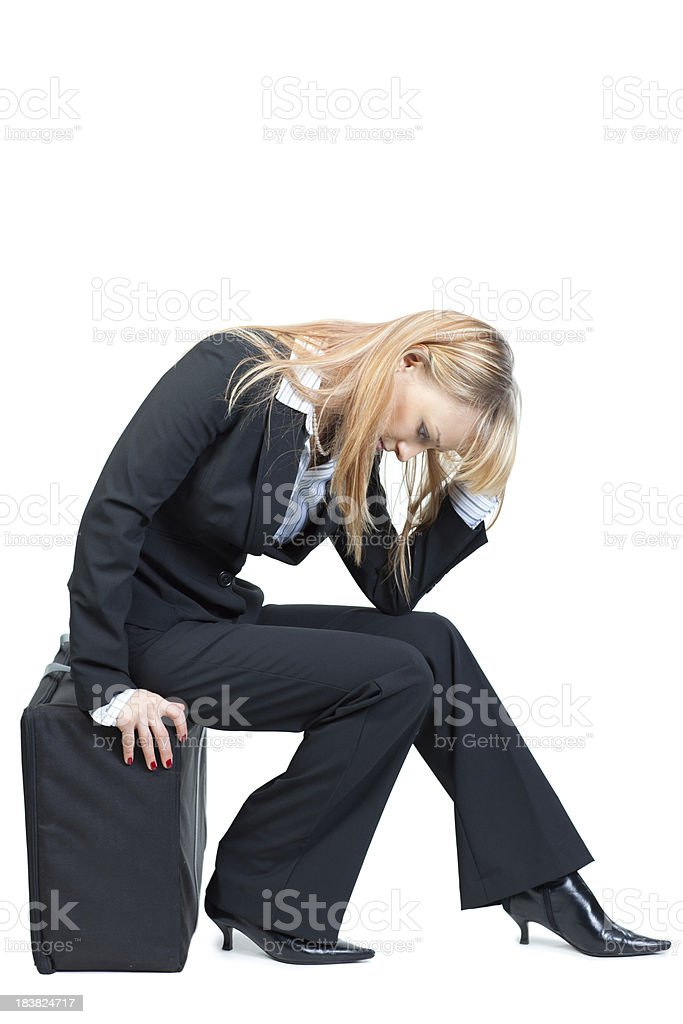 Businesswoman struggle in despair royalty-free stock photo