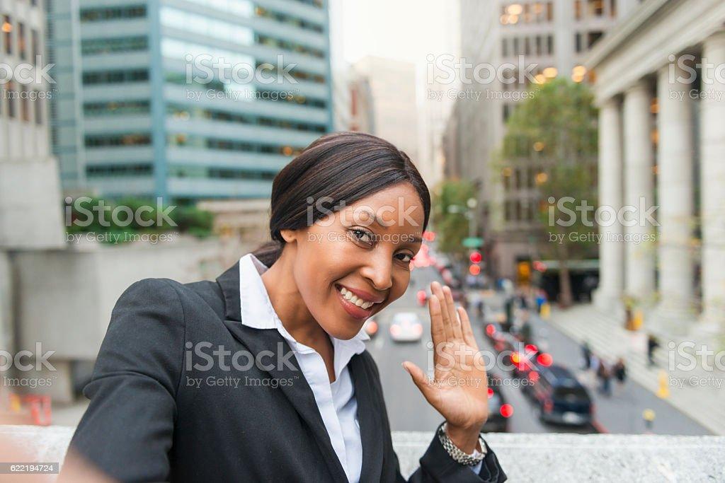 Businesswoman taking selfie in San Francisco stock photo