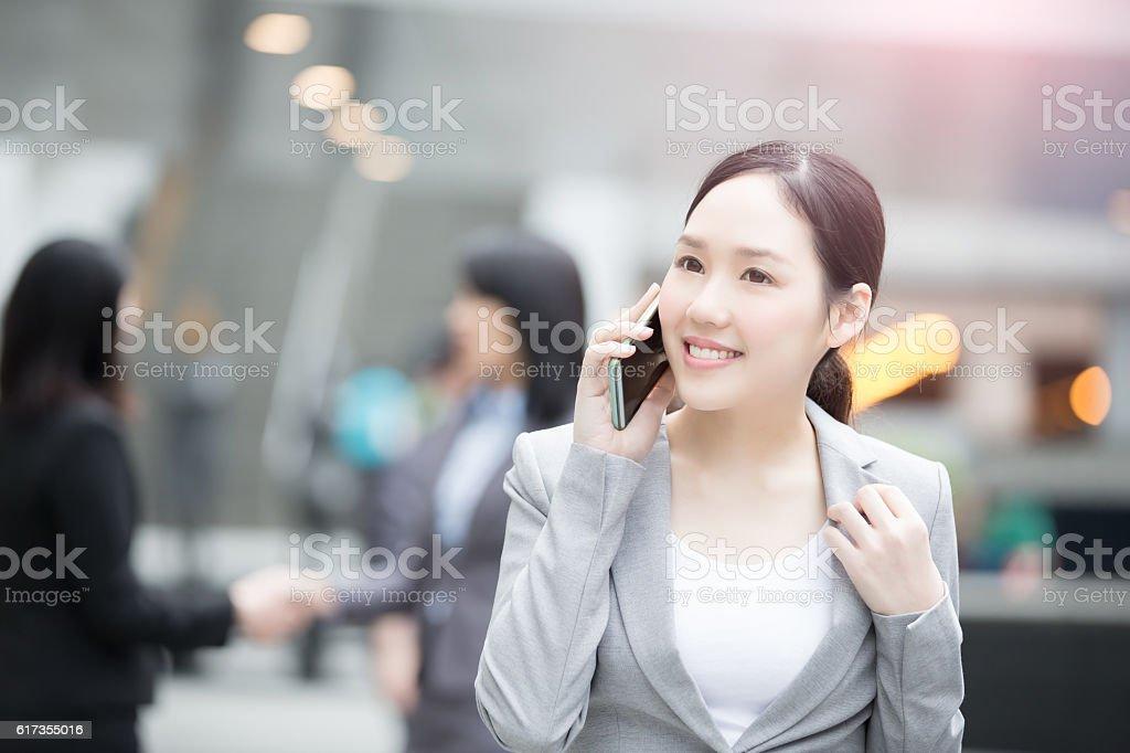 businesswoman talk on the phone stock photo