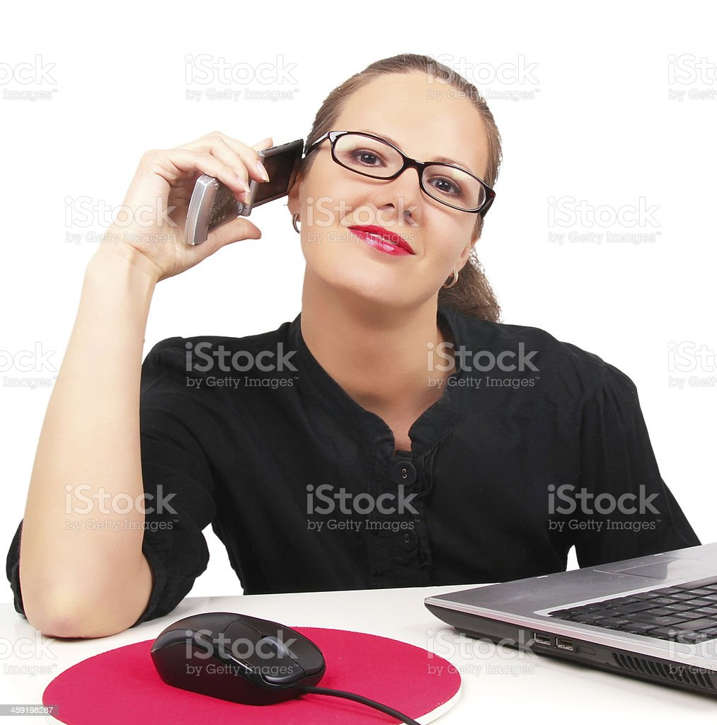 Businesswoman talking by phone stock photo