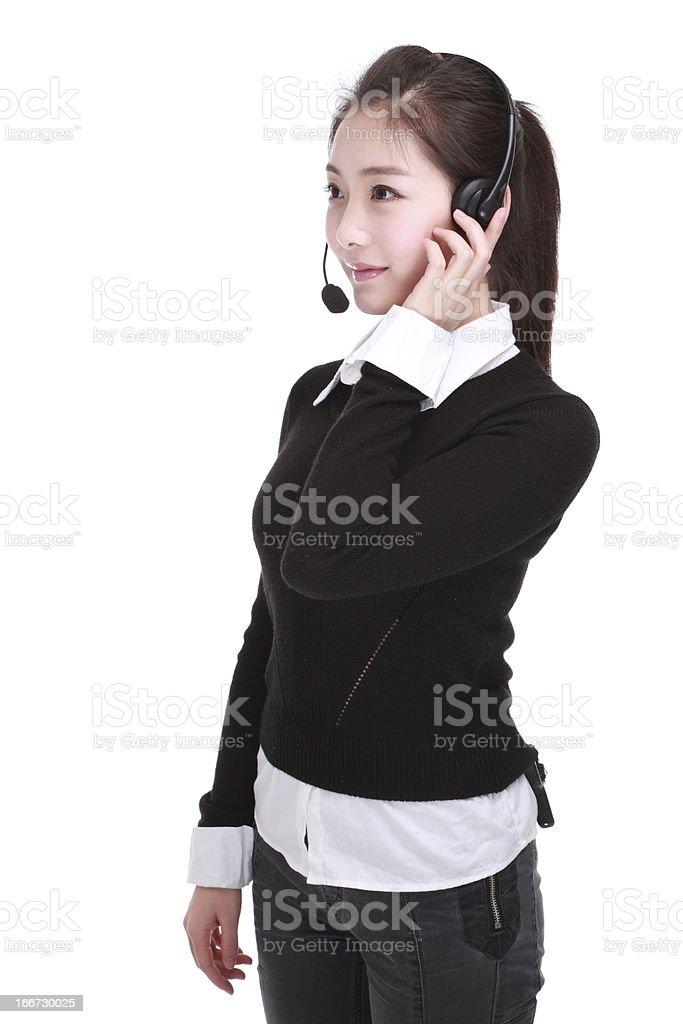 Businesswoman talking on headset royalty-free stock photo