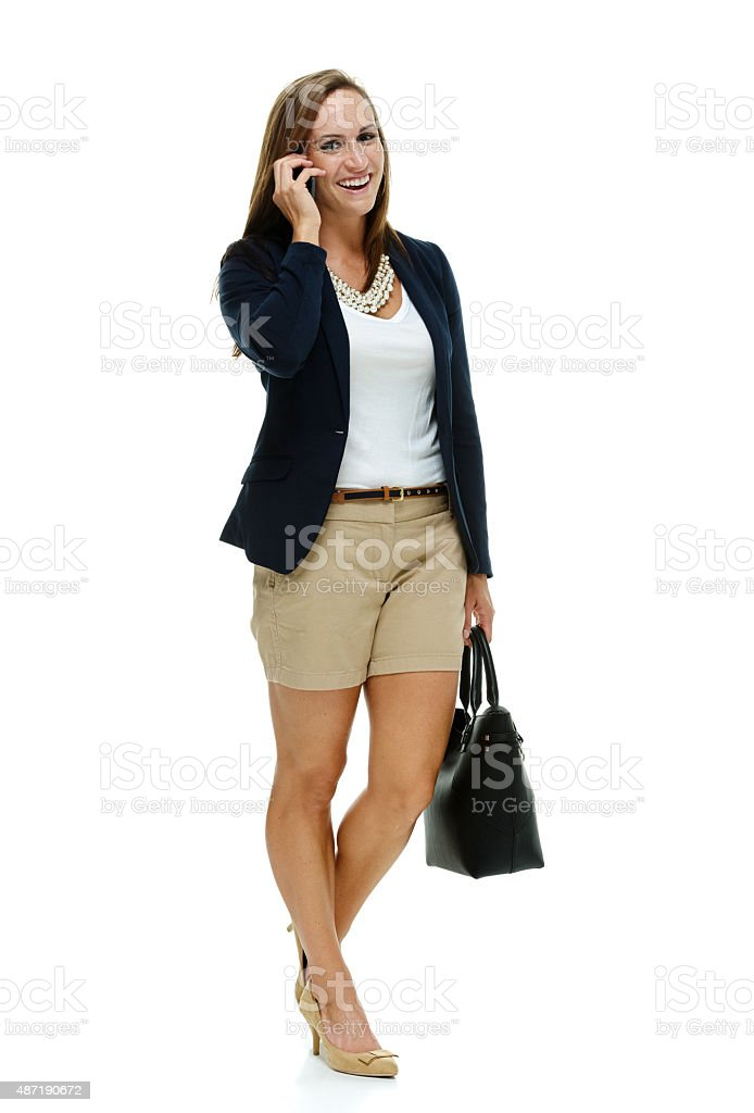Businesswoman talking on mobile phone stock photo