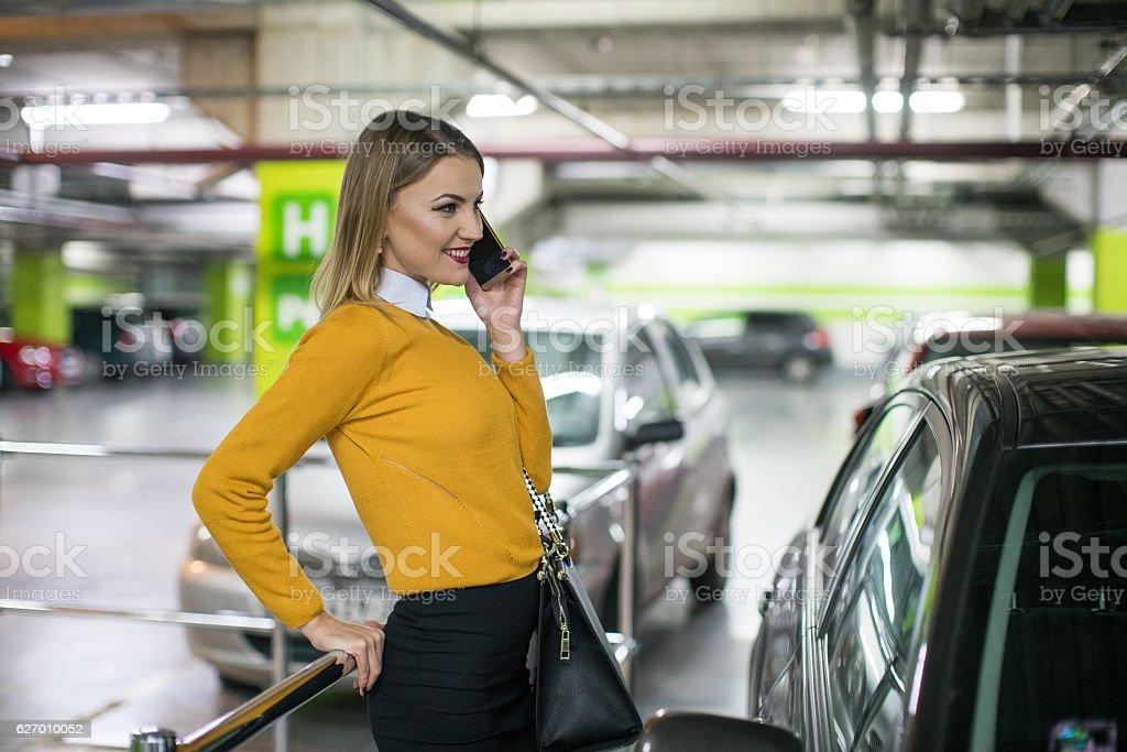 Businesswoman talking stock photo