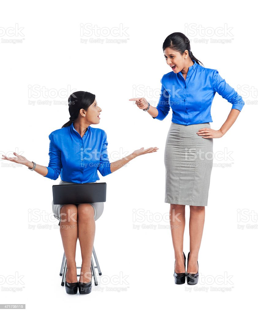 Businesswoman talking to her clone royalty-free stock photo