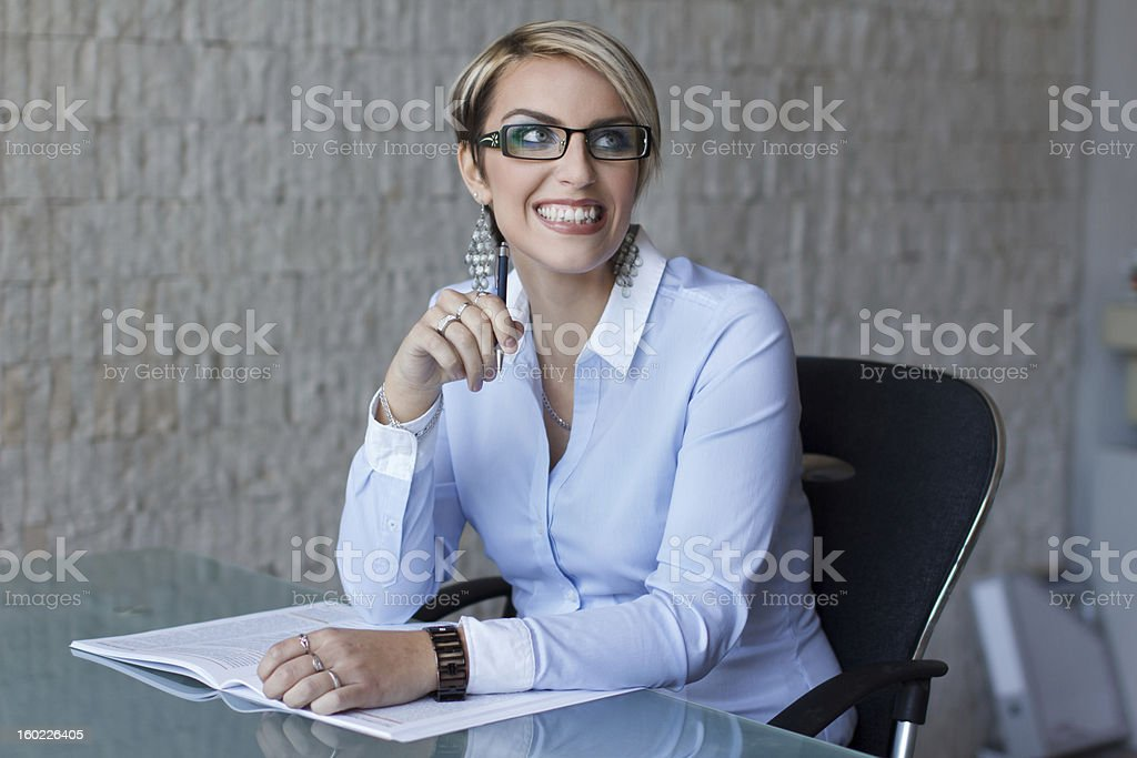 Businesswoman teeth smile royalty-free stock photo