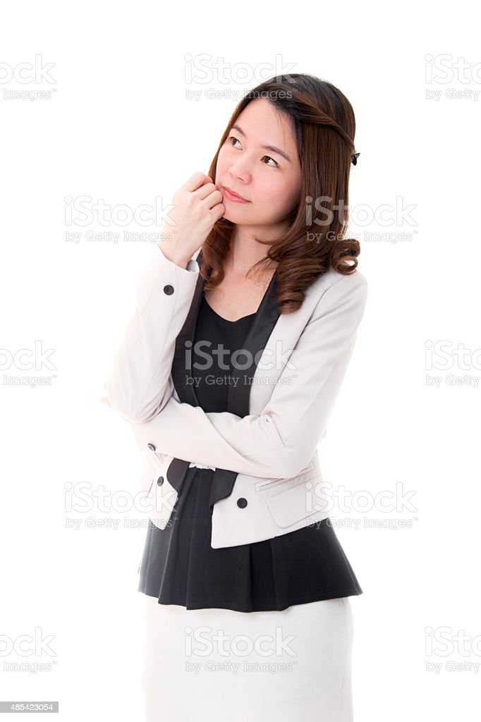 Businesswoman Think of Idea royalty-free stock photo