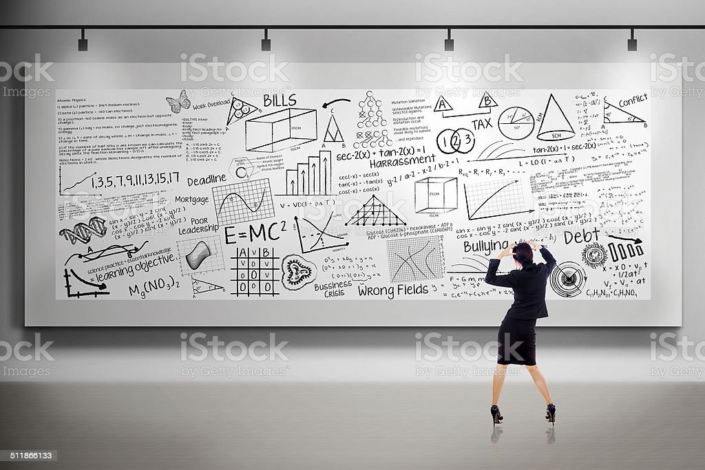 Businesswoman thinking in front of billboard stock photo