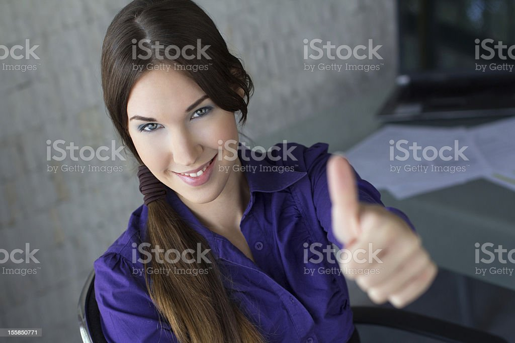 Businesswoman thumb up royalty-free stock photo
