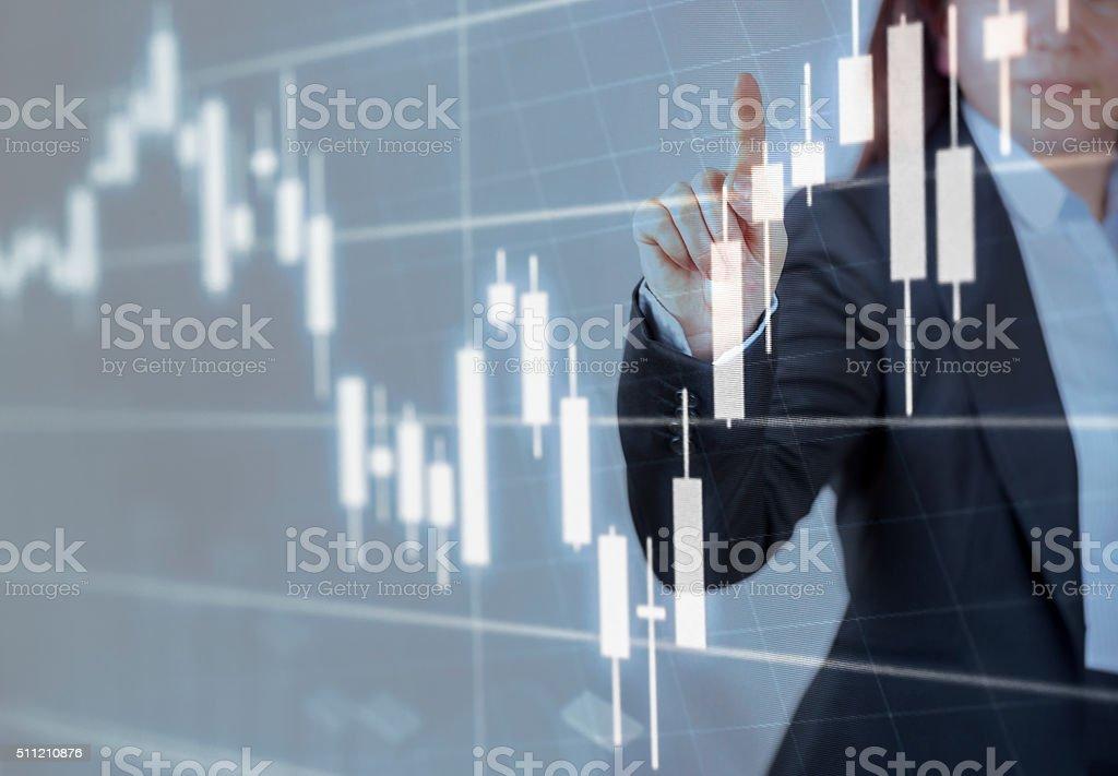 Businesswoman touching financial dashboard stock photo
