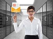 Businesswoman touching inbox e-mail icon virtual button