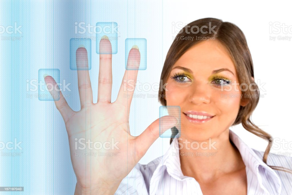 Businesswoman Touchning Digital Screen royalty-free stock photo