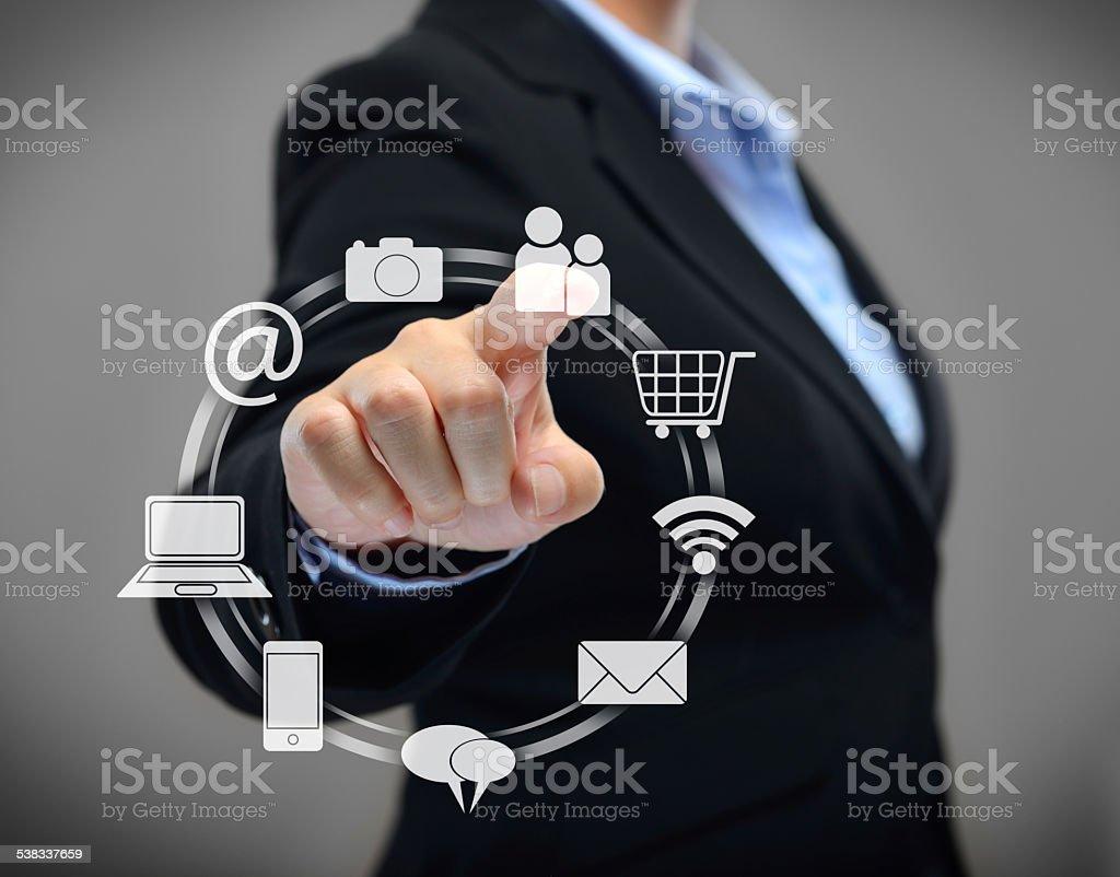 Businesswoman touchscreen stock photo