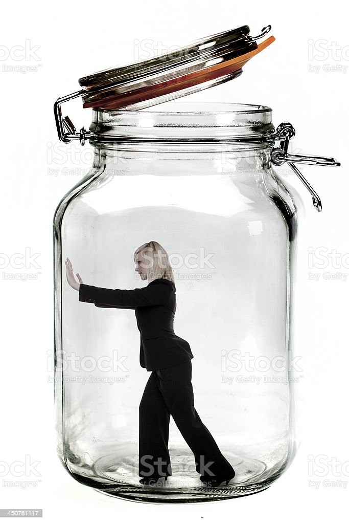 Businesswoman trapped. stock photo
