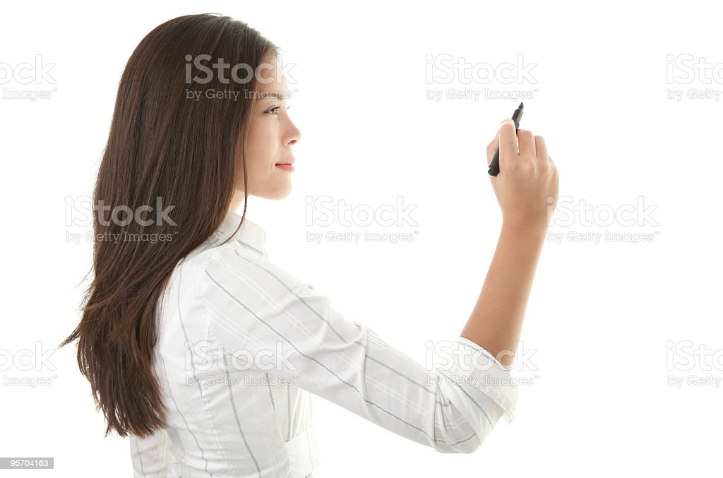 Businesswoman using a marker to write on copy space royalty-free stock photo