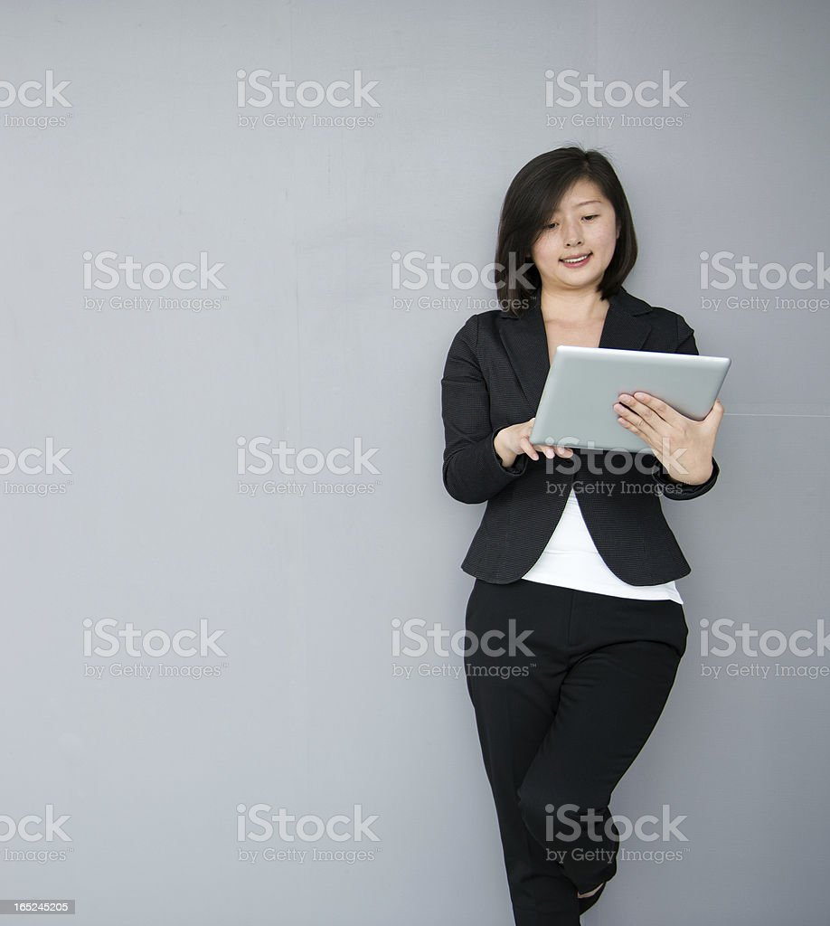 businesswoman using digital PC royalty-free stock photo