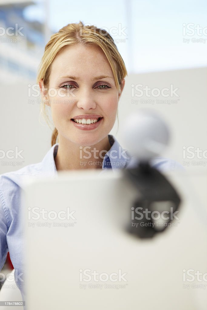 Businesswoman using skype stock photo