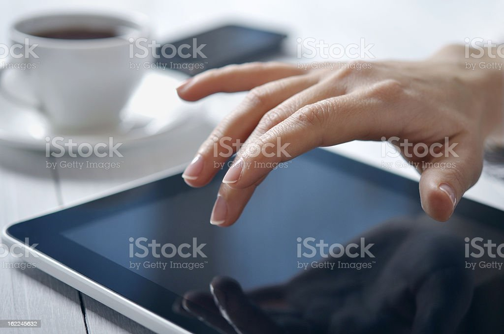 businesswoman using tablet PC royalty-free stock photo
