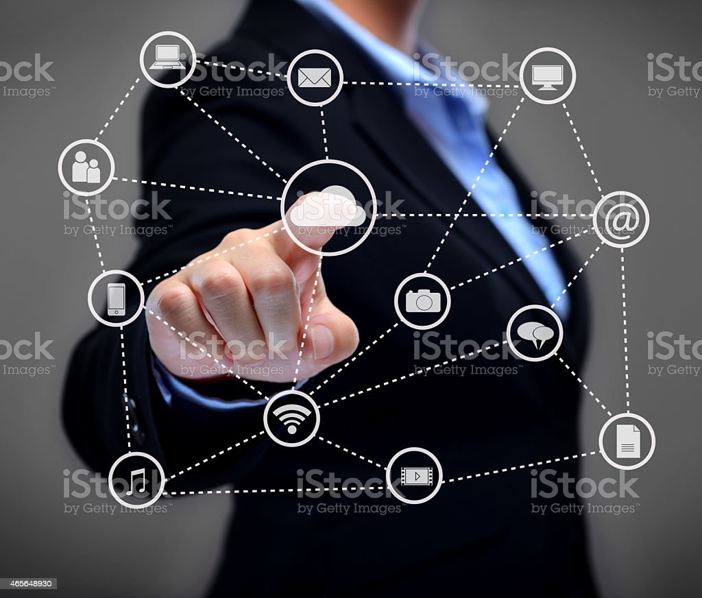 Businesswoman using touch screen. stock photo