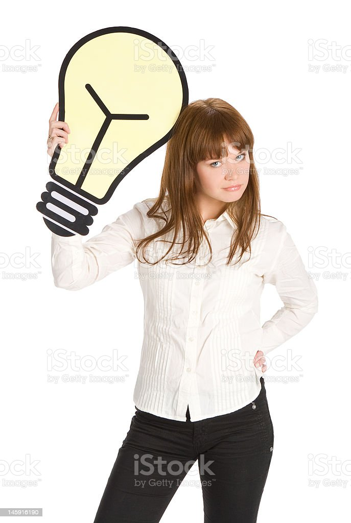 businesswoman waiting for idea royalty-free stock photo