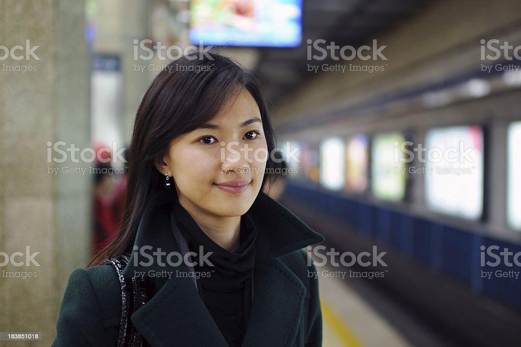 Businesswoman  Waiting Subway stock photo