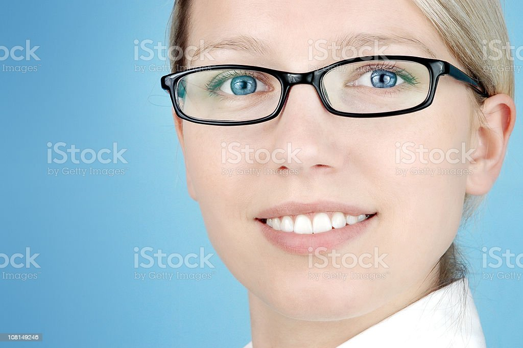 Businesswoman Wearing Collared Shirt and Black Rim Glasses royalty-free stock photo