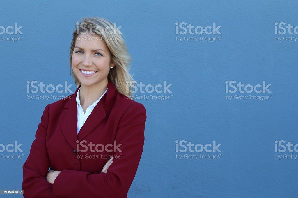 Businesswoman wearing formal classic blazer stock photo