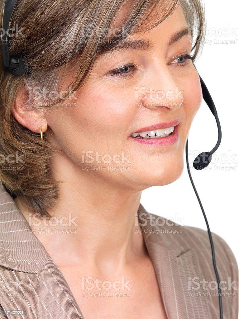 Businesswoman wearing headset royalty-free stock photo