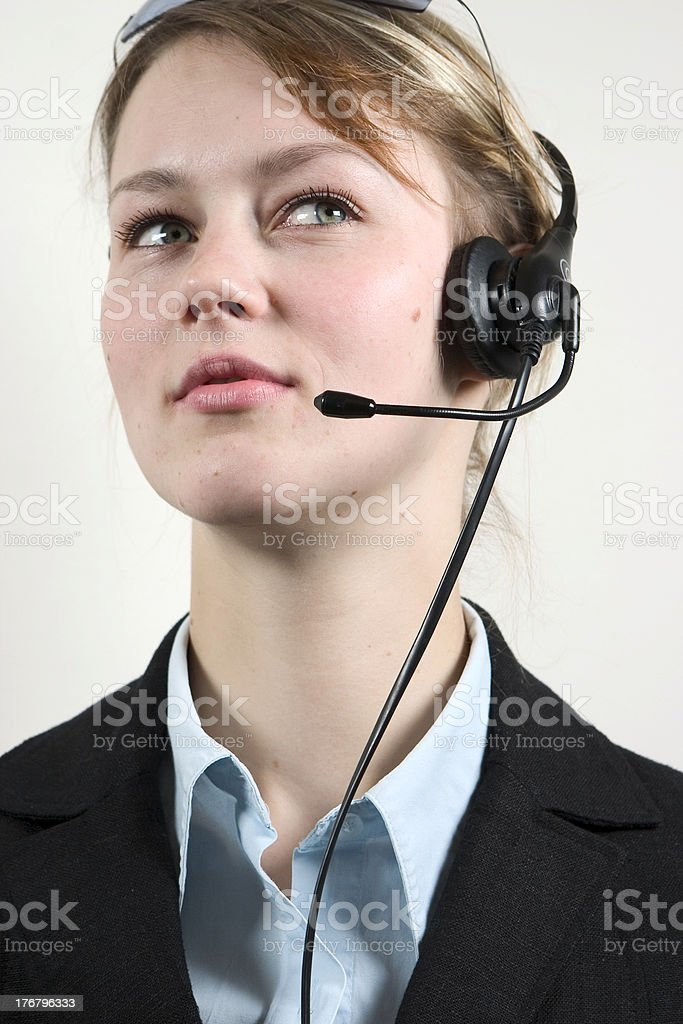 businesswoman wearing headset royalty-free stock photo