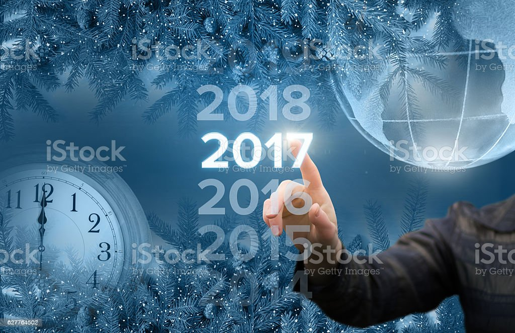 Businesswoman welcome in the new year stock photo