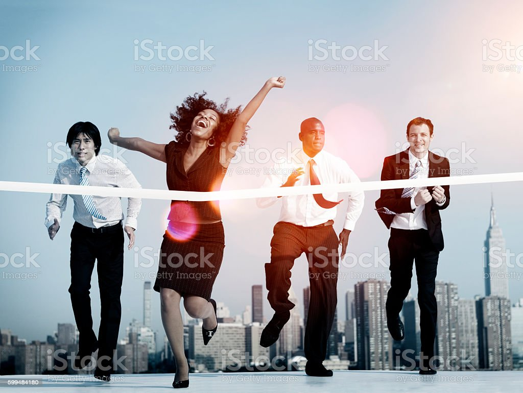 Businesswoman Winning Competition Mission Goal Concept stock photo