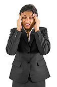 Businesswoman with a headache.