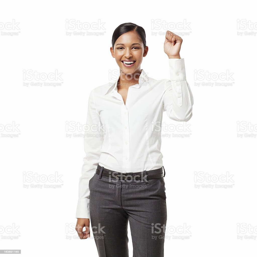 Businesswoman With a Raised Fist - Isolated royalty-free stock photo