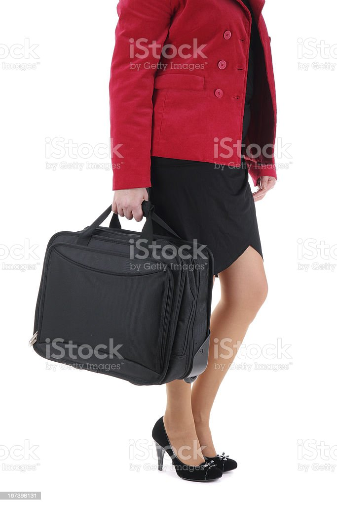 Businesswoman  with a suitcase royalty-free stock photo