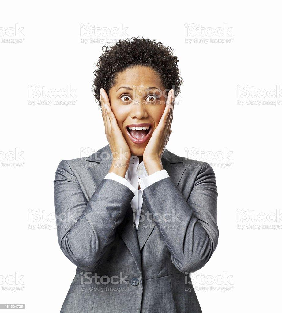 Businesswoman With a Surprised Expression - Isolated stock photo
