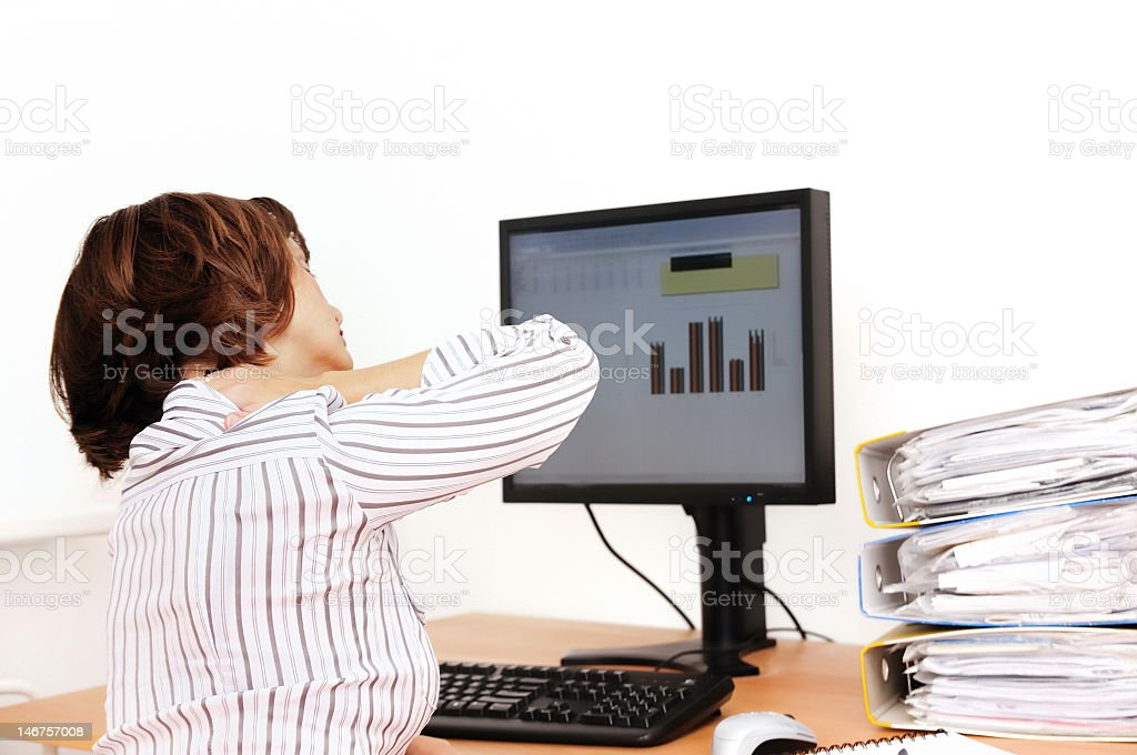 Businesswoman with aching neck royalty-free stock photo