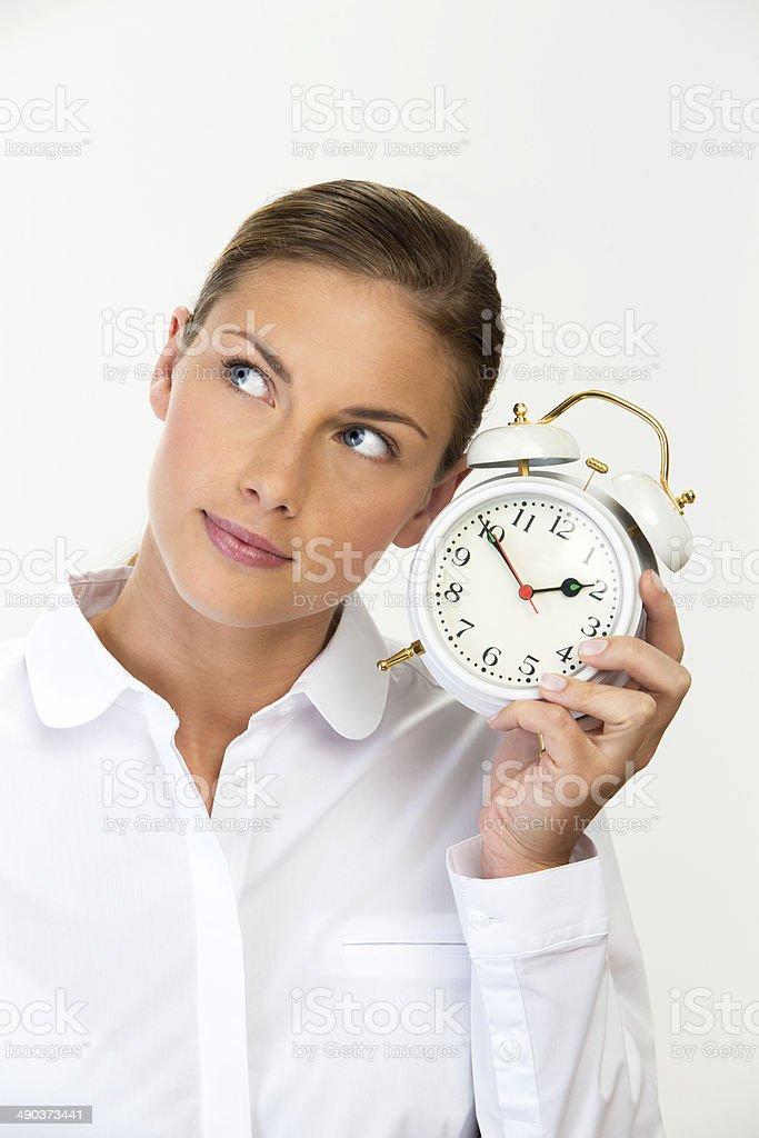 Businesswoman with Alarm Clock royalty-free stock photo