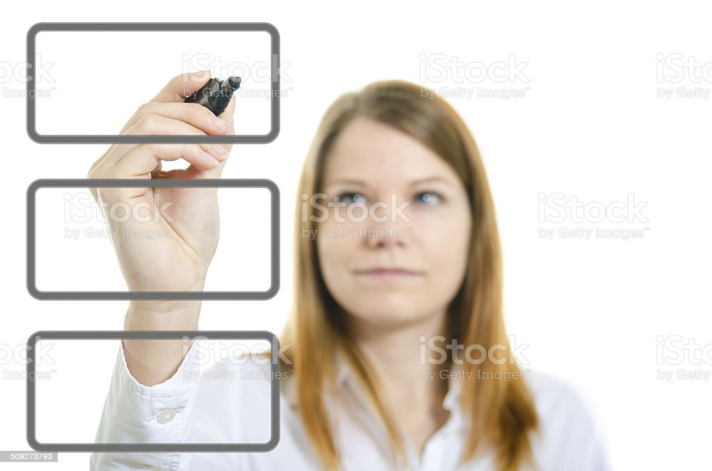 Businesswoman with an empty diagram royalty-free stock photo