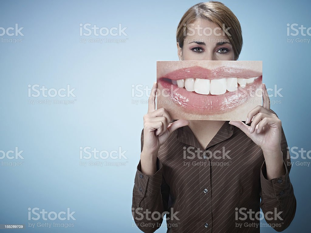 businesswoman with big mouth stock photo