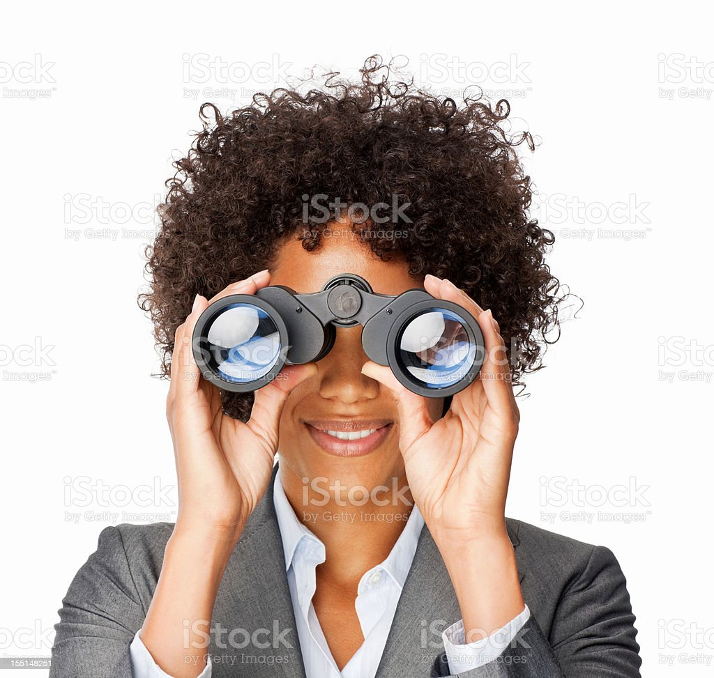 Businesswoman With Binoculars royalty-free stock photo