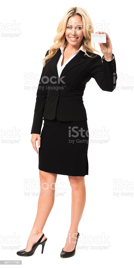 Businesswoman with Blank Business Card Isolated on White stock photo