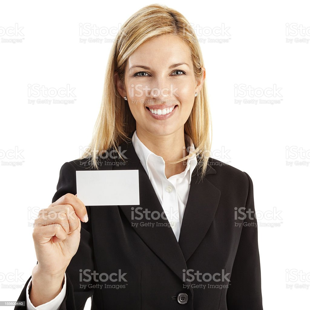 Businesswoman with Blank Business Card royalty-free stock photo