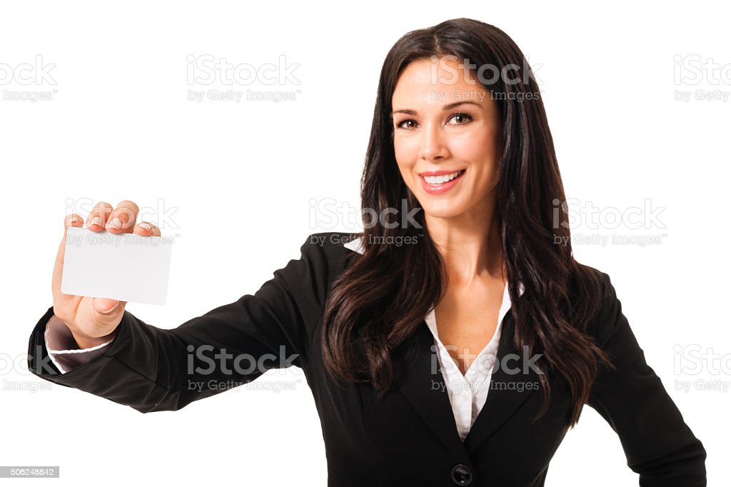 Businesswoman with Blank Card on White stock photo